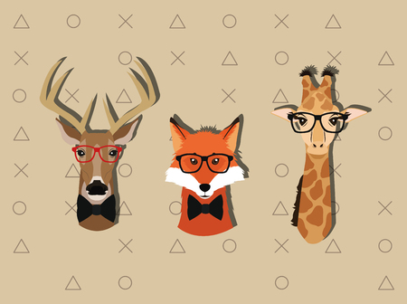 flat design hipster style animals image vector illustration Stock Vector - 62640999