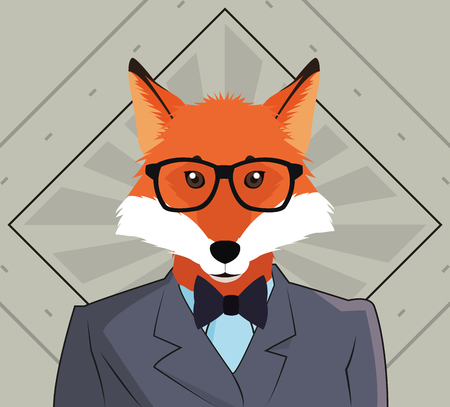 flat design hipster style fox image vector illustration