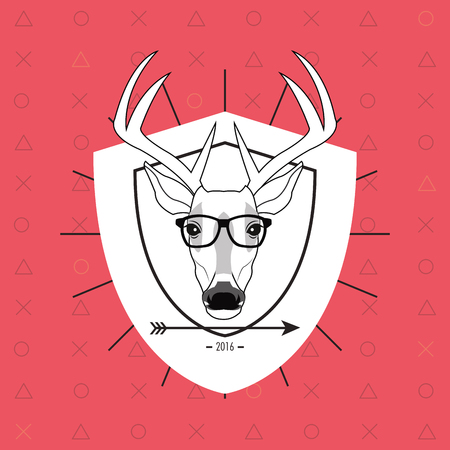 Flat Design Hipster Style Deer Image Vector Illustration Stock Vector    62555676