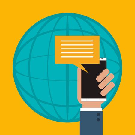 flat design mobile phone messaging image vector illustration