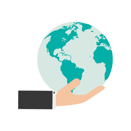 flat design hand holding earth globe and icon vector illustration