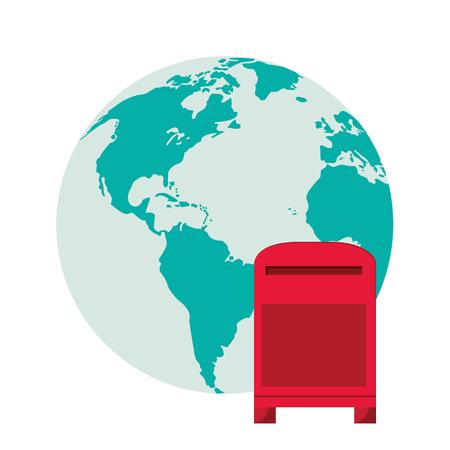 flat design earth globe and mailbox  icon vector illustration