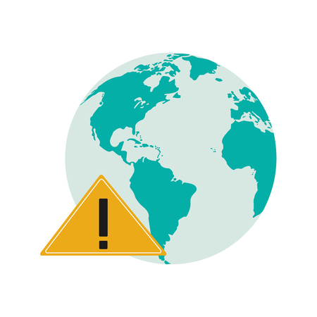 flat design earth globe and warning sign icon vector illustration