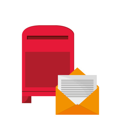 flat design mailbox and envelope  icon vector illustration