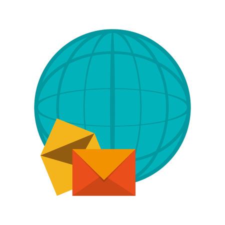 flat design earth globe diagram and envelope icon  vector illustration