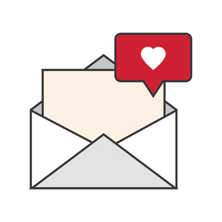 notification: flat design message envelope and heart notification icon vector illustration Illustration