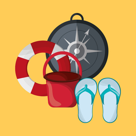preserver: flat design life preserver with vacation travel icons image vector illustration