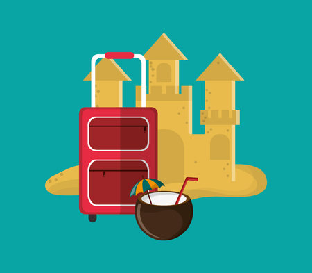 sandcastle: flat design sandcastle with vacation travel icons image vector illustration
