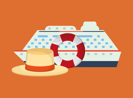 life preserver: flat design life preserver with vacation travel icons image vector illustration