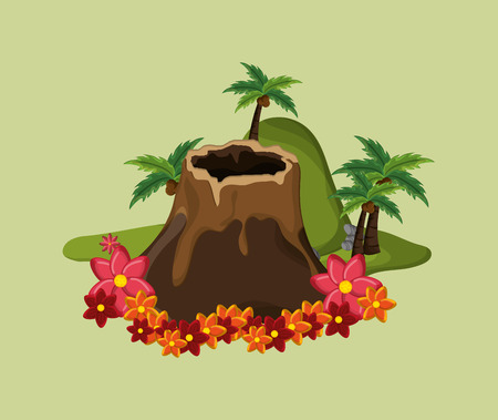 volcanic: flat design tropical volcanic island  vacation travel icons image vector illustration