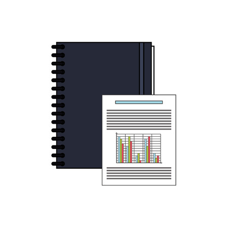 notebook design: flat design notebook and graph chart icon vector illustration