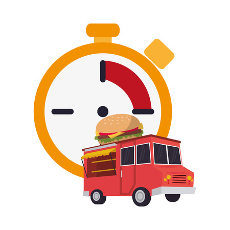 flat design chronometer and  fast food truck  icon vector illustration