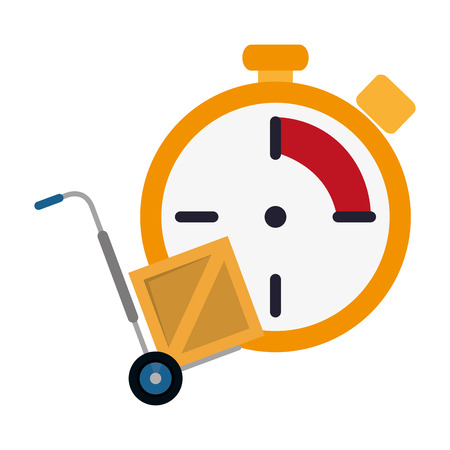 flat design chronometer and hand truck icon vector illustration