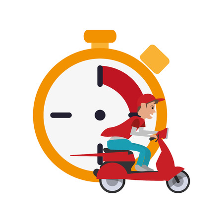chronometer: flat design chronometer and scooter  icon vector illustration