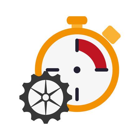 chronometer: flat design chronometer and gear  icon vector illustration Illustration