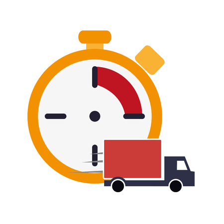 chronometer: flat design chronometer and  truck van icon vector illustration Illustration
