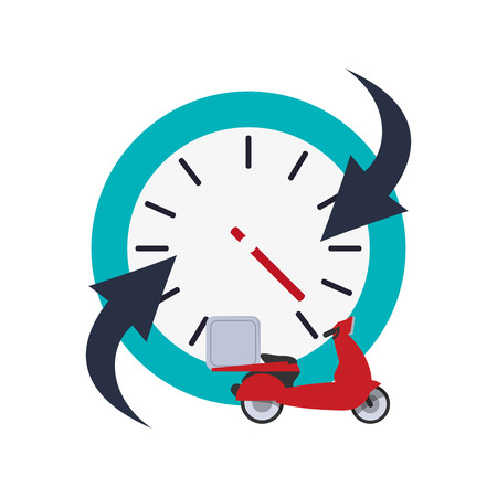 refreshed: flat design clock with arrow and scooter  icon vector illustration