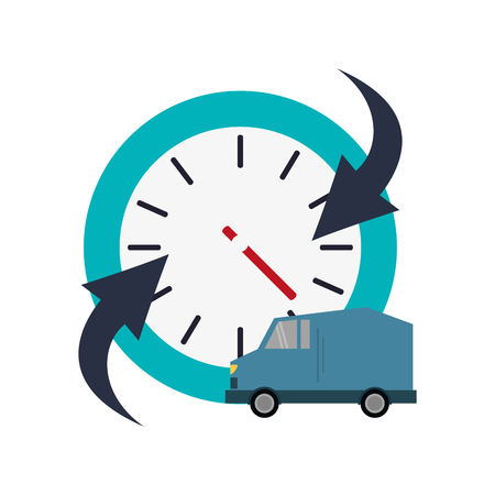 flat design clock with arrow and  truck van icon vector illustration