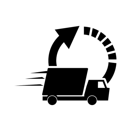 turning point: flat design circle arrow and  truck van icon vector illustration Illustration