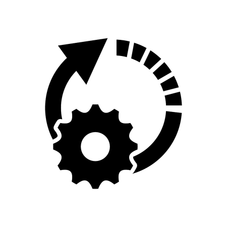 moving down: flat design circle arrow and gear  icon vector illustration
