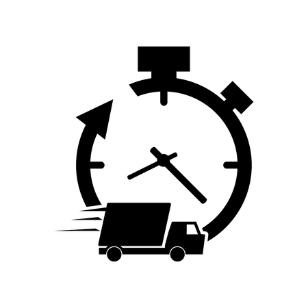 refreshed: flat design clock with arrow and  truck van icon vector illustration