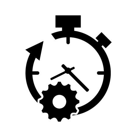 plat design klok met pijl en versnelling pictogram vector illustratie