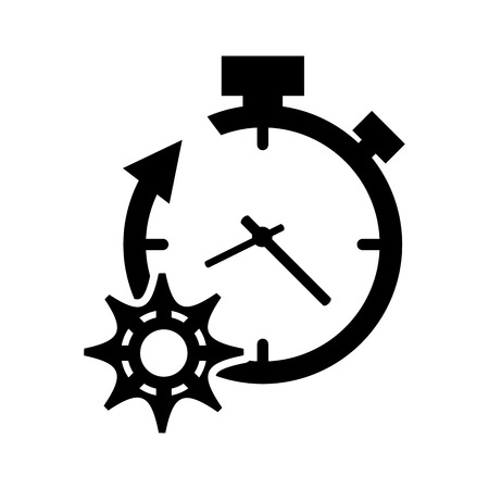 refreshed: flat design clock with arrow and gear  icon vector illustration