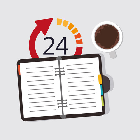 cofee cup: flat design notebook with 24h and cofee cup office related icons vector illustration