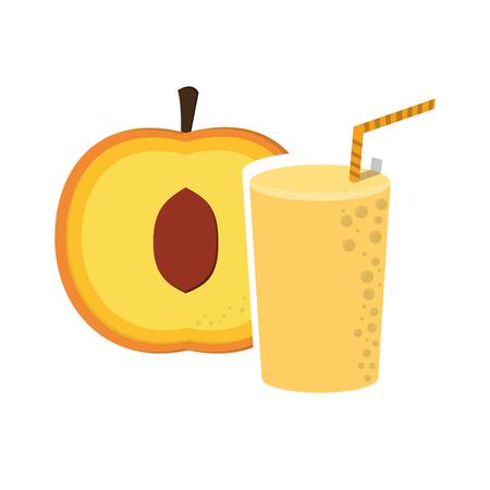 flat design apricot and juice glass icon vector illustration Illustration