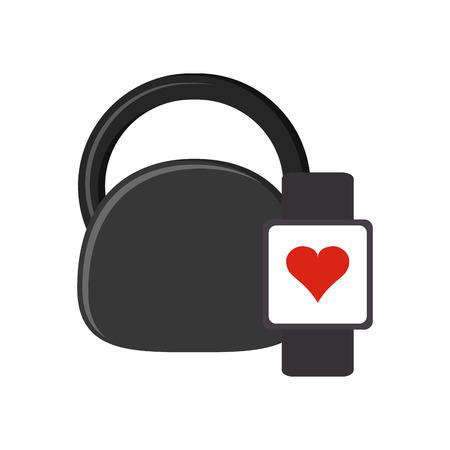 heart monitor: flat design kettlebell and heart rate wrist monitor icon vector illustration Illustration