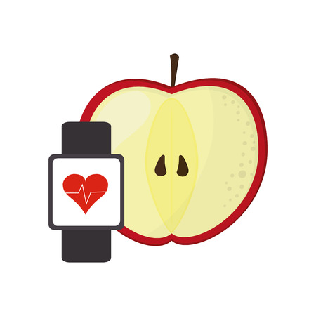 heart monitor: flat design apple and heart rate wrist monitor icon vector illustration