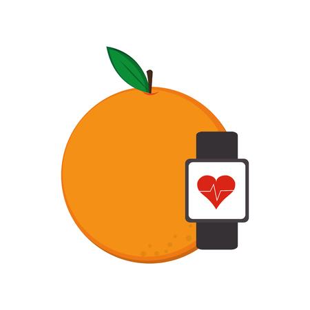 heart monitor: flat design orange and heart rate wrist monitor icon vector illustration Illustration