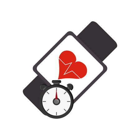 flat design heart rate wrist monitor and chronometer  icon vector illustration