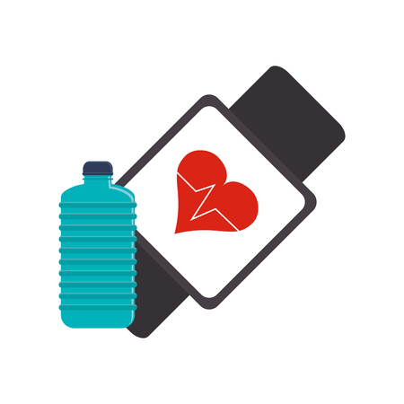 tracking: flat design heart rate wrist monitor and sports bottle icon vector illustration