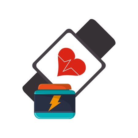 supplement: flat design heart rate wrist monitor and protein supplement icon vector illustration Illustration