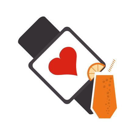 metrics: flat design heart rate wrist monitor and  juice icon vector illustration