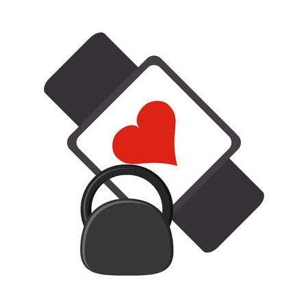 metrics: flat design heart rate wrist monitor and kettlebell  icon vector illustration