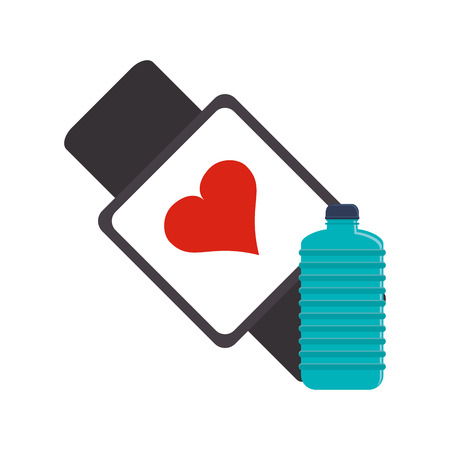 metrics: flat design heart rate wrist monitor and sports bottle icon vector illustration