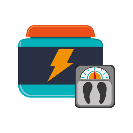 supplement: flat design protein dietary supplement and weight scale  icon vector illustration