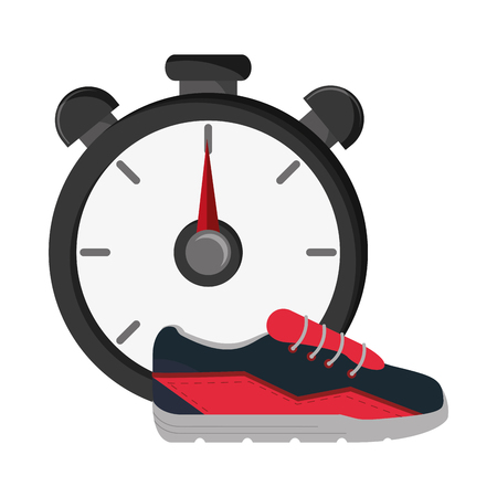 chronometer: flat design chronometer and sneakers   icon vector illustration