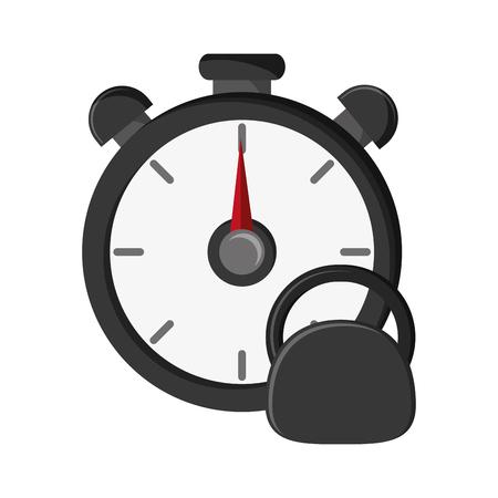 chronometer: flat design chronometer and kettlebell  icon vector illustration