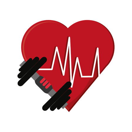 pulsating: flat design heart cardiogram and dumbbell  icon vector illustration