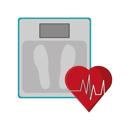 flat design weight scale and  heart cardiogram icon vector illustration Illustration