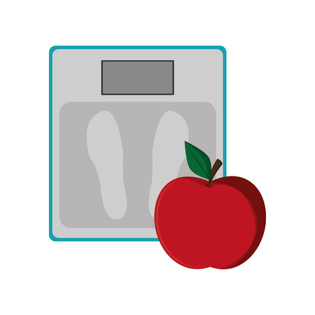 low scale: flat design weight scale and apple  icon vector illustration