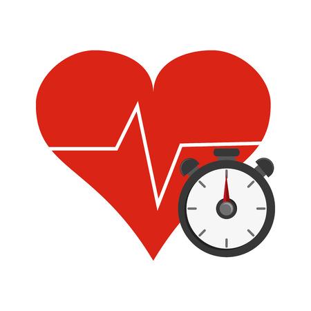 chronometer: flat design heart cardiogram and chronometer  icon vector illustration Illustration