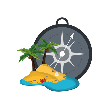 global positioning system: flat design compass and tropical island icon vector illustration Illustration