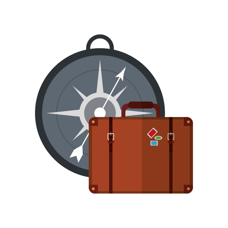 global positioning system: flat design compass and suitcase  icon vector illustration