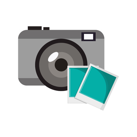 photograph: flat design photographic camera and  instant photograph icon vector illustration