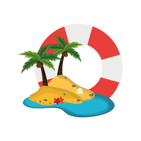 preserver: flat design life preserver and tropical island icon vector illustration Illustration