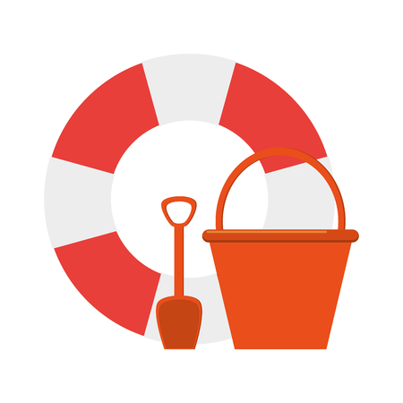 preserver: flat design life preserver and bucket with shovel  icon vector illustration